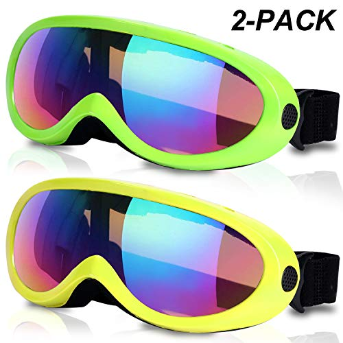 (RNGEO Ski Goggles, Pack of 2, Snowboard Goggles for Kids, Boys & Girls, Youth, Men & Women, with UV 400 Protection, Wind Resistance, Anti-Glare Lenses, 2018 New Edition)