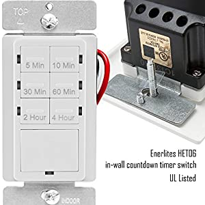 TOPGREENER HET06 Countdown Timer Switch, Fan Switch Timer, Wall Timer Switch, Light Timer Switch, Bathroom Timer Switch, 5 min – 4 hrs, Night Light LED Indicator, NEUTRAL WIRE REQUIRED,White, 2-Pack