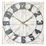 Stratton Home Décor S11545 Rustic Farmhouse Wall Clock, Distressed White/Galvanized Metal/Gold/Black