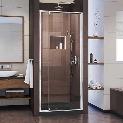 DreamLine Flex 28-32 W x 72 H Inch Semi-Frameless Pivot Shower Door, Chrome (1 Glass Prices Tempered 4 Inch)