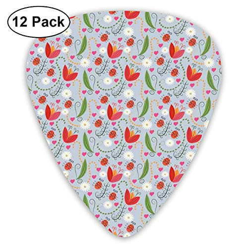 (Guitar Picks 12-Pack,Romantic Spring Nature Concept With Doodle Tulips Daisy Petals Swirls And Ladybugs)