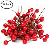 Fashionclubs Christmas Tree Artificial Red Holly Berry Pick Branch Wreath Pack of 100