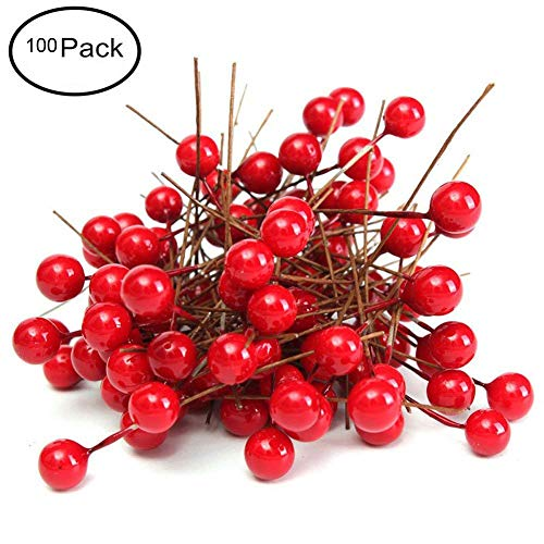 - Fashionclubs Christmas Tree Artificial Red Holly Berry Pick Branch Wreath Pack of 100