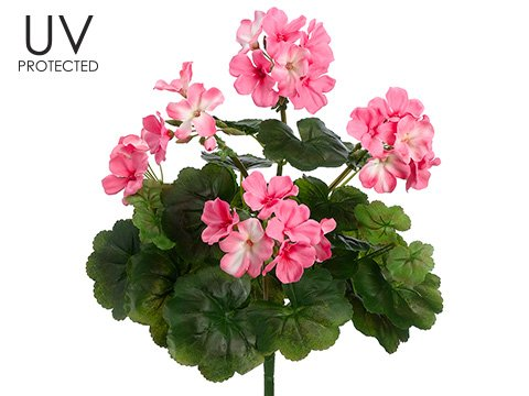 "UV Protected Outdoor Silk Geranium Bush in Pink - 17"" Tall"