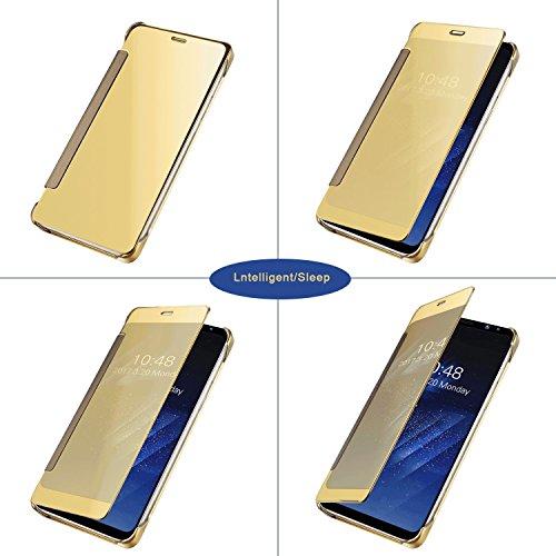 IPhone 7 Funda Wouier® inteligente Fecha / Hora Ver Espejo Brillante tirón del caso duro Con del sueño / Despierte Función Oro