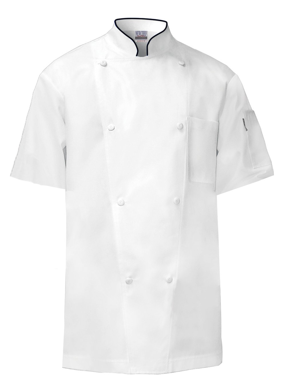 Newchef Fashion White Regent Short Sleeves Chef Coat with Black Trim 3XL White by Newchef Fashion
