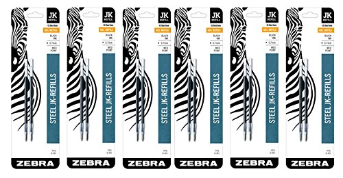 Zebra JK-Refll G301 Retractable Gel Pen Refills, 0.7mm, Medium Point, Black Ink, Pack of 12