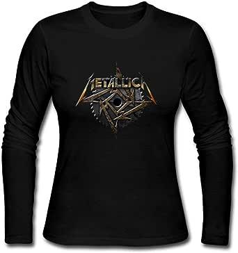 Duanfu DIY MEALLICA Metallica Women's Long Sleeve Tops Sweatshirt Loose Cotton Crew Neck T-Shirt