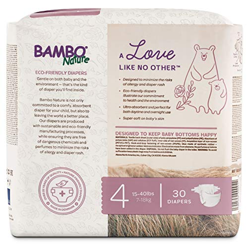 Bambo Nature Eco Friendly Premium Baby Diapers for Sensitive Skin, Size 4 (15-40 lbs), 30 Count