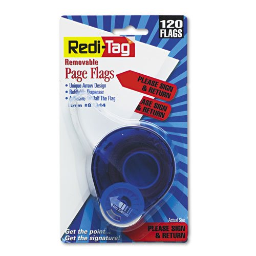 Redi-Tag Products - Redi-Tag - Arrow Page Flags in Dispenser, Please Sign and Return, Red, 120 Flags - Sold As 1 Pack - Flag it, remove it, reuse it! - ()