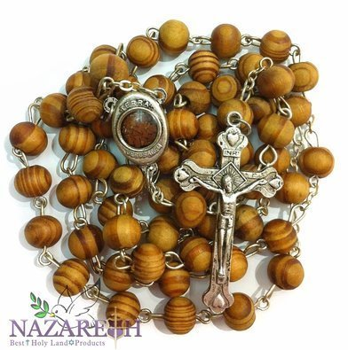 Brown Wood Beads Rosary Devout Jesus Crucifix Chain Cross Necklace with Holly Land Soil ()