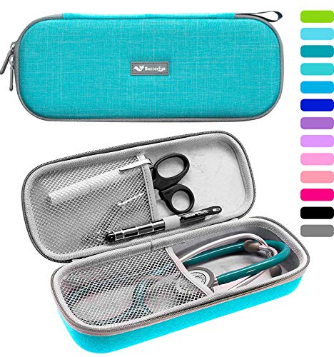 ButterFox Semi Hard Stethoscope Case For Classic III, Cardiology IV Diagnostic, Lightweight II S.E, and More Stethoscopes with Pocket for Nurse Accessories (Turquoise) (Supplies Student Nursing)