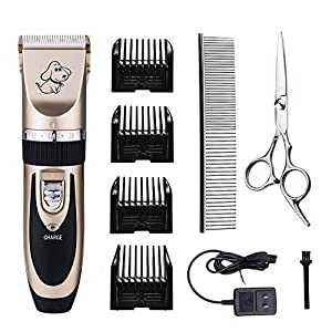Professional Pet Grooming Clippers,Rechargeable Cordless Pet Hair Clipper for Small Medium Large Dogs Cats and Other Animals,Otstar Low Noise Pet Grooming Kit Set