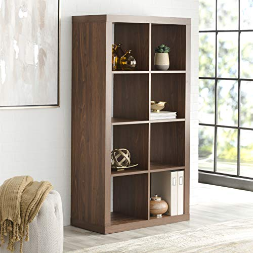 Better Homes and Gardens Furniture 8-Cube Room Organizer in Vintage Walnut Finish + Include Free 2-Piece Storage -