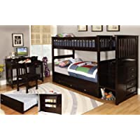 Twin Over Twin Stair Stepper Bed with 3 Drawers in Espresso Finish