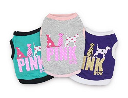 DroolingDog Dog Shirt Dog Pink Shirts Pet Dog Clothes Puppy Vest Dog T Shirt Small Dogs, Small, Pack of 3