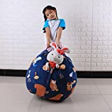 DDLBiz Kids 16 Inch Graffiti Tossing Game Sofa Stuffed Animal Bean Bag Chair Organizer Box Household Toys (Blue)