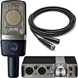 AKG and Zoom Studio Recording Pack with AKG C214 Condenser Microphone and Zoom UAC-2 USB 3.0 Audio Interface and 10\' Microphone Cable