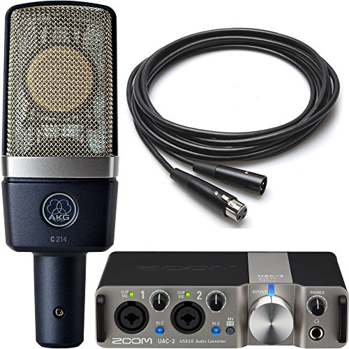 cording Pack with AKG C214 Condenser Microphone and Zoom UAC-2 USB 3.0 Audio Interface and 10' Microphone Cable (Akg Large Diaphragm Condenser Microphone)