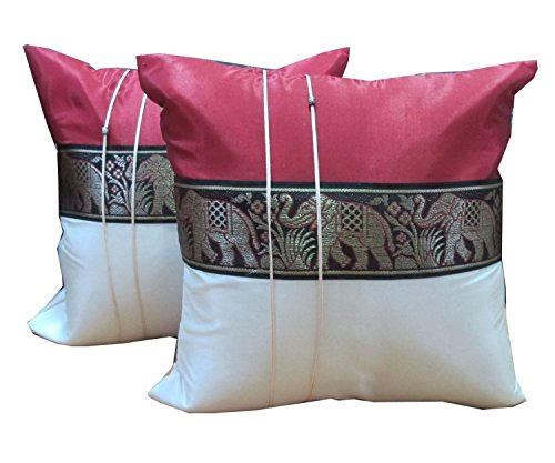 Copter Shop 2 Pieces Throw Cushion Cover Elephant Decorative Pillow Cover Cushion Cases Throw Sofa Color Size 16x16 Inch Aurora Red (Aurora King Bed)