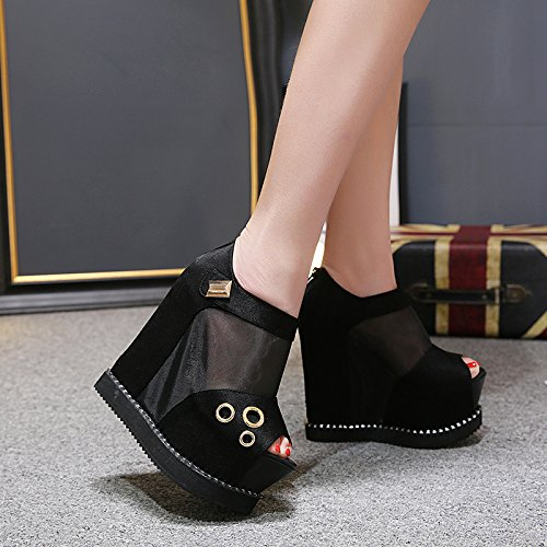 GTVERNH-bocca di pesce impermeabile maggiore muffin spesso fondo cunei sandali 15cm con scarpe d'alta moda trentaquattro nero -