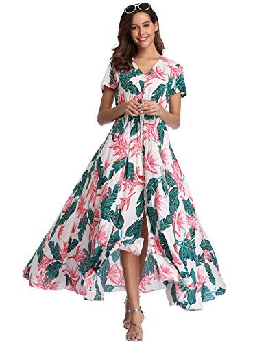 Ferrendo Summer Womens Floral Maxi Dress Button Up Split Flowy Bohemian Party Beach Dress