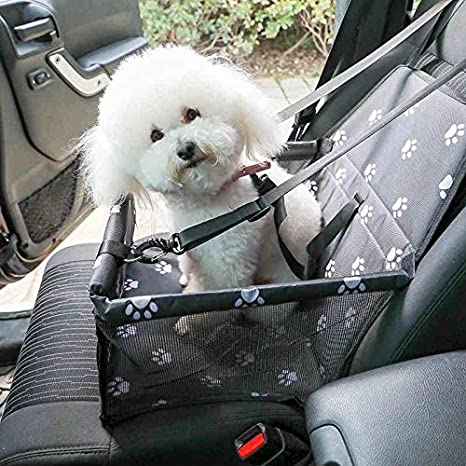 SWIHEL Pet Car Booster Seat Travel Carrier Cage Oxford Breathable Folding Soft Washable Travel Bags for Dogs Cats or Other Small Pet Paw pattern