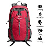 Camel 40L Lightweight Durable Waterproof Travel Hiking Backpack Daypack with Rain Cover