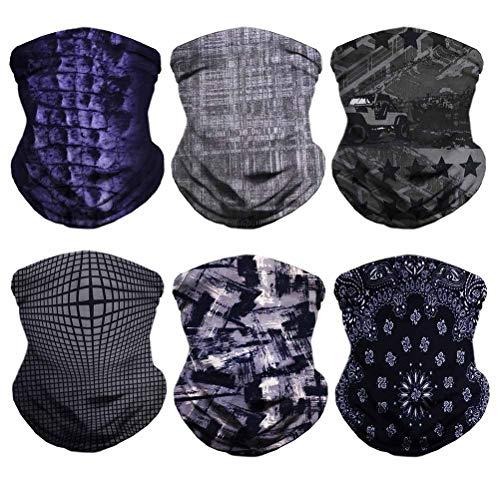 (VCZUIUC Multifunctional Headwear, Magic Face Mask, Neck Gaiter, Seamless Bandana for Motorcycle, Fishing, Head Wrap, Scarf, Balaclava, Multi Use for Men (6PCS-Black))