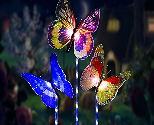 Garden Solar Lights Outdoor Decorative Lamp Stake,3 Pack Waterproof Solar Powered Butterfly Lights,D-Runze LED Color Changing Landscape Lighting for Fence,Lawn,Yard Christmas Decorative Lighting