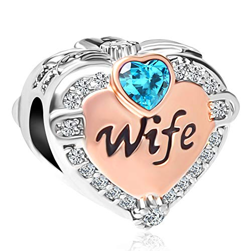 CharmSStory Rose Gold Wife Heart Love Charms Beads for Bracelets(December) (Clearance Sales January)