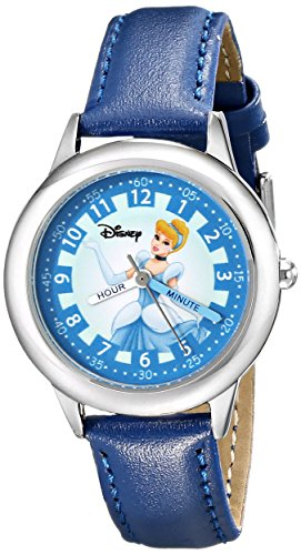 Disney Kids' W000058 Cinderella Time Teacher Stainless Steel Watch with Blue Leather Band