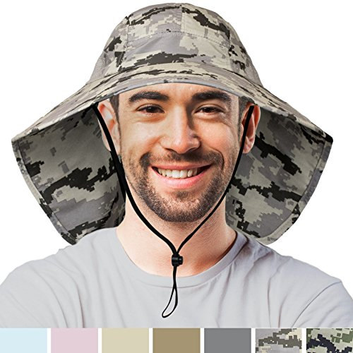 Premium Outdoor Sun Hat for Men | Sun Protection Hat for Hiking, Fishing, Safari | Grey Camouflage Wide Brim Cap with Neck Flap and Adjustable Chin Cord, UPF 50+ | Foldable, Breathable (Digi Gray)