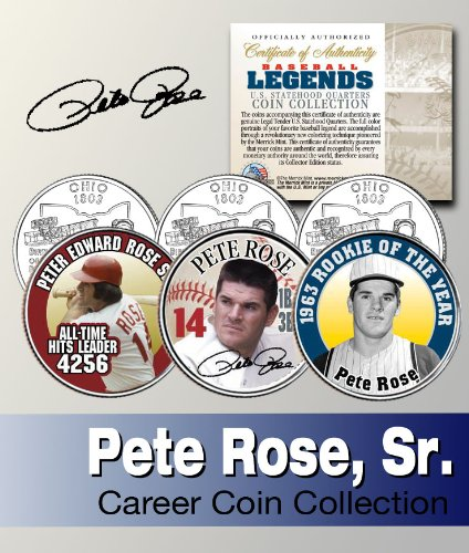 Baseball Legend PETE ROSE US Statehood Quarter Colorized 3-Coin Set - Merrick Outlet