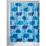 InterDesign Novelty EVA Shower Curtain, 72-Inch by 72-Inch, Blue
