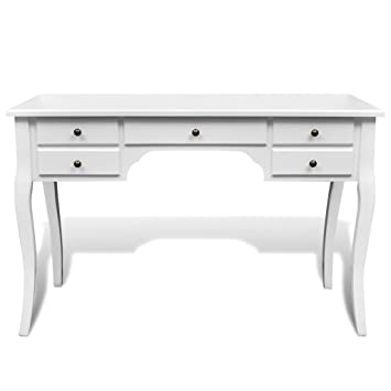 Anself White Dressing Table Wooden French Desk Curved Legs 5 Drawers