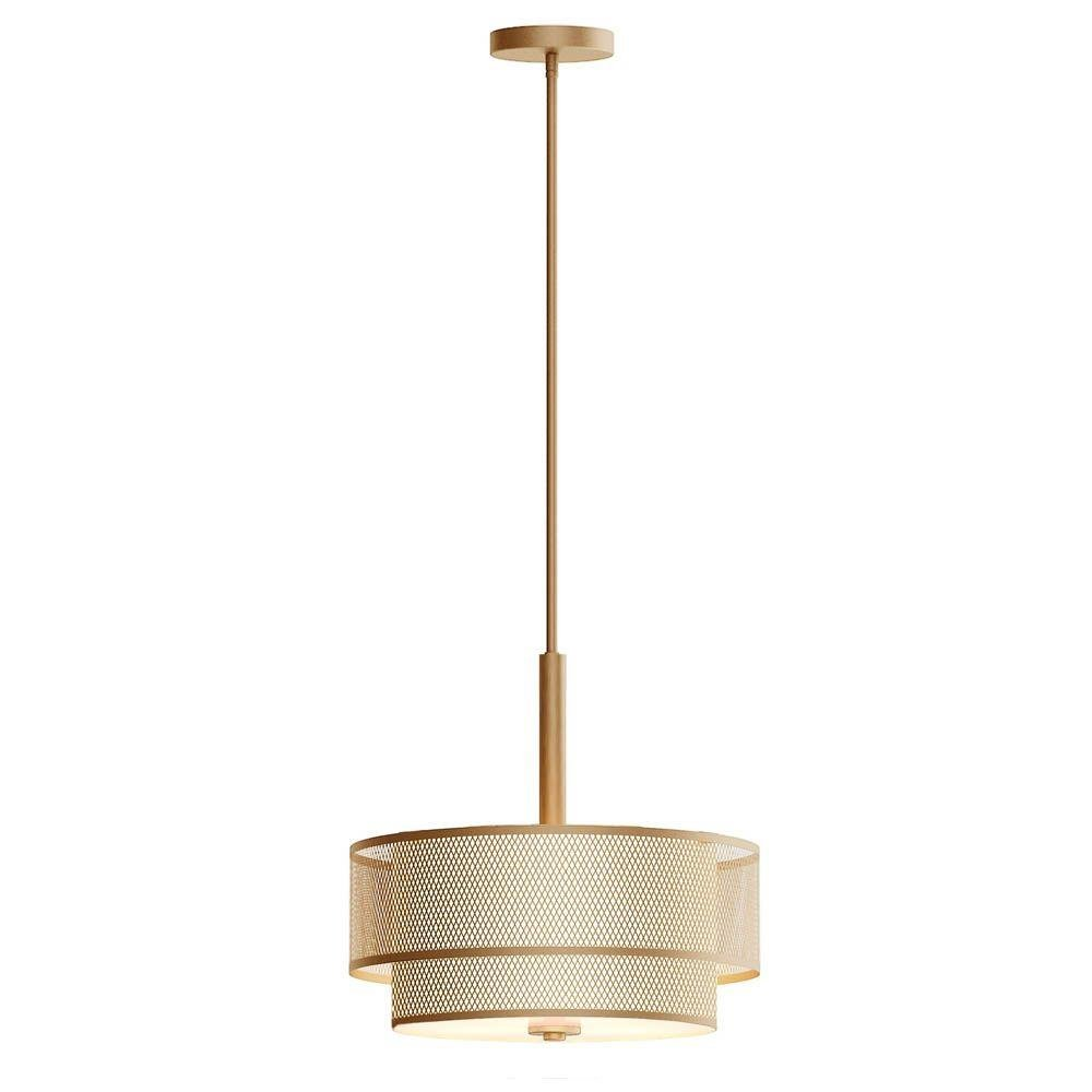 3-Light Modern Matte Gold Pendant with Fabric Shade