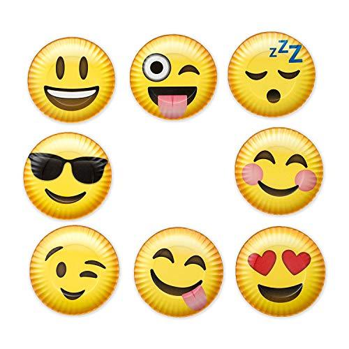 Emoji Smiles Paper Plate 4 x 4 Inch Melamine Beverage Coasters 8 Piece Set ()