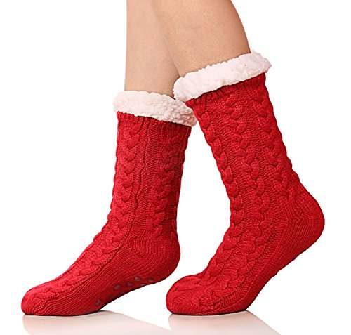 - SDBING Women's Winter Super Soft Warm Cozy Fuzzy Fleece-lined Christmas Gift With Grippers Slipper Socks(Red)