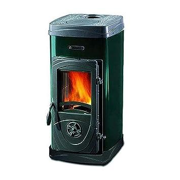 estufa de Leña Acero Verde fundido A Fuego Continuo 6kw calentamiento Panor Super: Amazon.es: Hogar