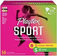 Playtex Sport Tampons with Flex-Fit Technology, Regular & Super Multi Pack, Unscented - 50C
