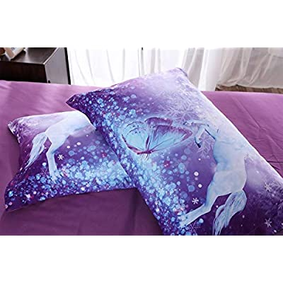 Imiee Purple Unicorn and Butterfly Duvet Cover Bedding Sets 3 Pieces Full Size for Teen Kids, Tencel Cotton Unicorn and Butterfly Comforter Cover Sheet Sets with Pillowcases(Full): Home & Kitchen
