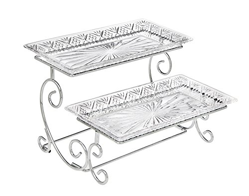 Godinger Silver Art Dublin 2 Tiered Glass Buffet Serving Tray - Chrome Plated Platter Stand with Starburst Design - Party and Event Dessert and Food Display Server (Tray Glass Platter)