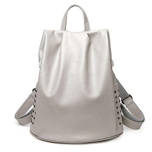 Mefly Multifunktionale Freizeit Tasche Leder Handtasche Rucksack Diebstahlschutz Nieten gray