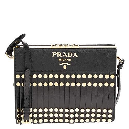 Prada Women's Leather Fringe Straps Studded Idol Shoulder Bag Black