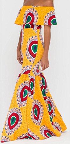 Print Dashiki Africaine Sexy Femmes Domple Sirène Robe De Soirée Maxi Moulante Comme Image
