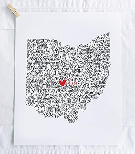 Ohio Calligraphy Illustration Art Print // housewarming gift