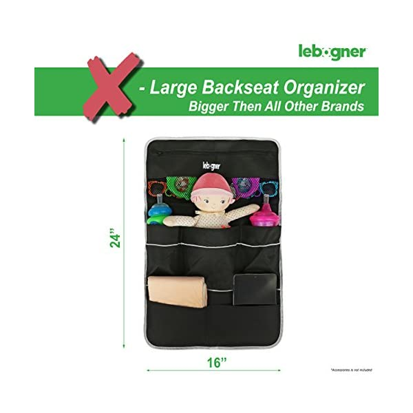 Car Backseat Organizer By Lebogner Luxury Car Organizer Perfect X Large Size Auto Back Seat 7 Pocket Storage To Organize All Baby Kids Toys And Travel Accessories In Your Car SUV And Minivan