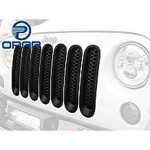 [Upgrade Clip in Version] Opar Matt Black Mesh Grille Inserts for Jeep JK Wrangler 2007-2015 - 7 Pieces