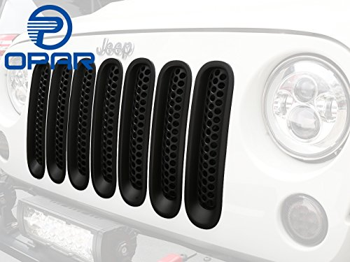 Opar Matte Black Clip in Front Grille Mesh Inserts for 2007-2015 Jeep JK Wrangler & Wrangler Unlimited (Pack of 7)